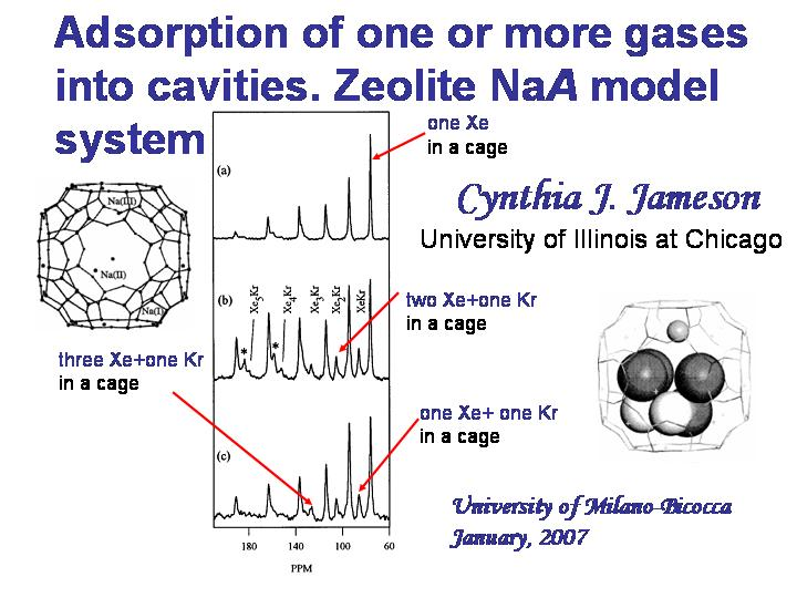 Adsorption of one or more gases into cavities