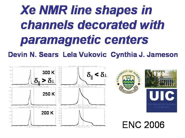 Xe  in channels with paramagnetic centers