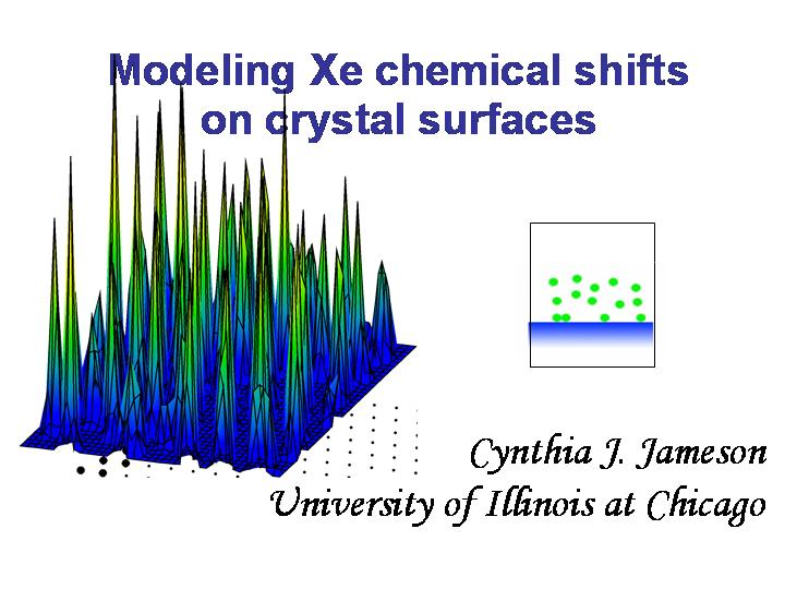 Modeling Xe chemical shifts on crystal surfaces