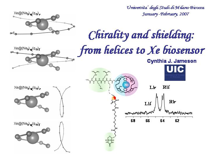 Chirality and shielding: from helices to Xe biosensor
